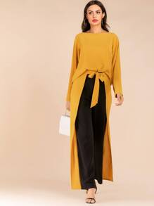 Solid Split Sleeve Top & Colorblock Tie Front Pants Set