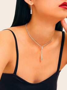 Rhinestone Engraved  Lariat Necklace & Drop Earrings 3pcs