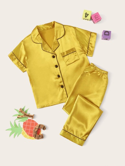 Boys Contrast Binding Satin Shirt & Pants PJ Set