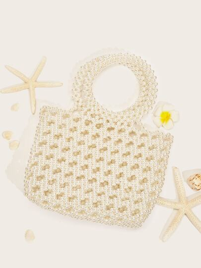 Faux Pearl Beaded Hollow Tote Bag