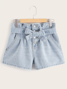 Button Fly Belted Denim Shorts