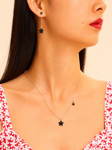 Star Pendant Chain Necklace & Earrings 3pcs