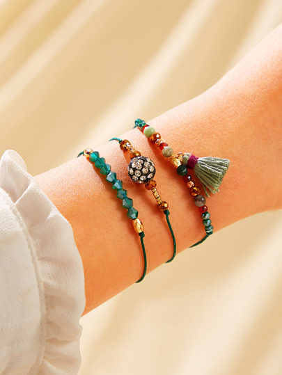 Tassel Charm Beaded Bracelet 3pcs