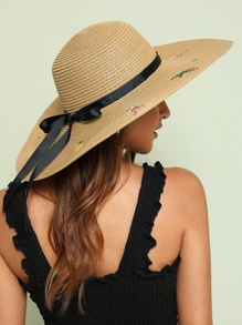 Flamingos Embroidery Bow Knot Decor Floppy Hat