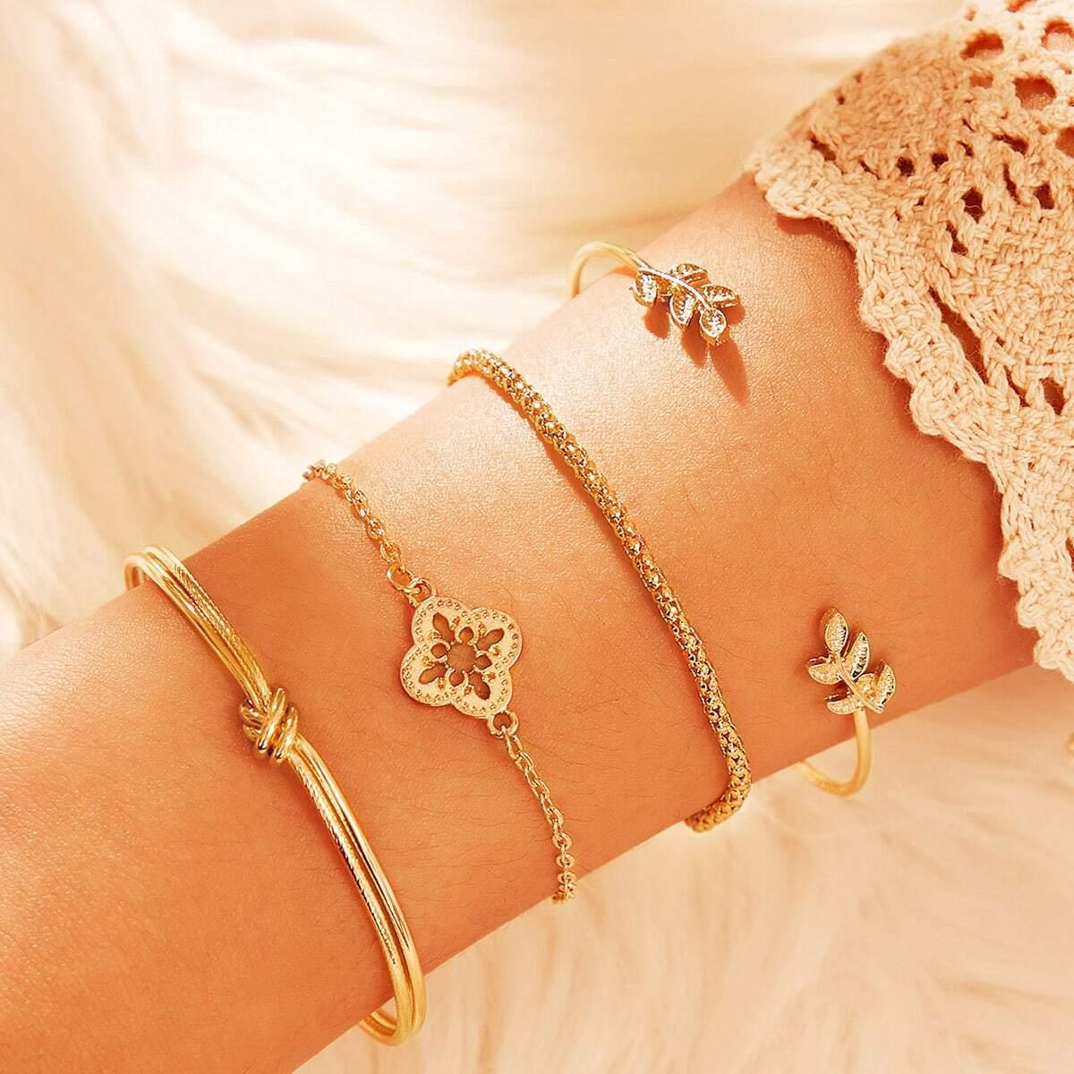 Armband mit Blatt & Blumen Dekor und Kette 4 Stücke
