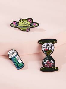 Planet & Drink Design Brooches 3pcs