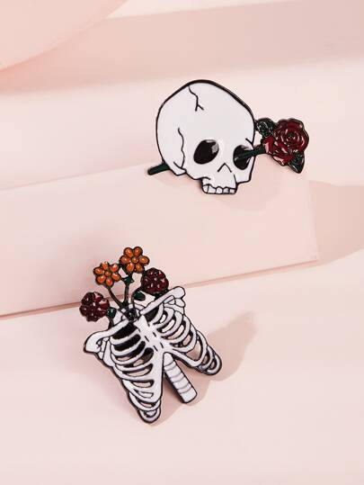 Skull & Rose Decor Brooches 2pcs