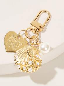 Faux Pearl Decor Shell Charm Keychain