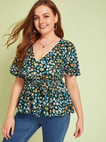 Plus Floral Print Button Front Belted Peplum Top