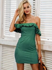 Simplee Solid Off Shoulder Ruffle Trim Zip Back Dress