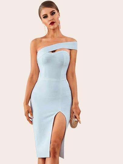 63b43e8852 Adyce Solid One Shoulder Split Thigh Pencil Dress