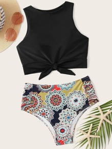 Knot Hem Top With Tribal Bikini Set