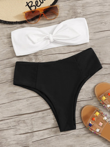 Twist Bandeau With Panty Bikini Set