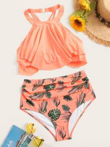 Hanky Hem Halter Top With Tropical Bikini Set