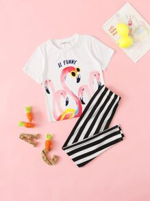 Girls Mixed Print Top and Striped Pants PJ Set