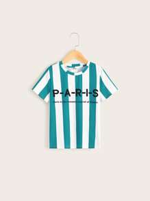 Boys Slogan Print Striped Top