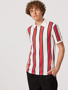 Men Half Placket Striped Polo Top