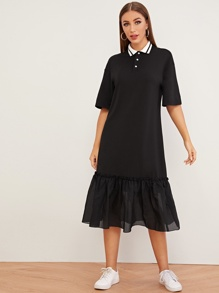 Half Placket Drop Ruffle Hem Tunic Dress