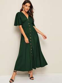 Button Front Flutter Sleeve Flared Dress