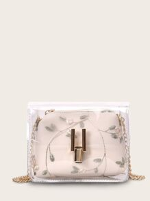 Clear Bag With Embroidered Inner Pouch