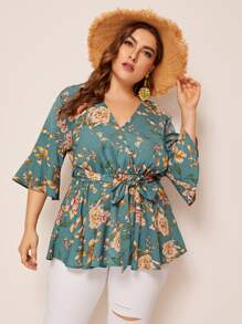 Plus Floral Print Belted Peplum Surplice Blouse