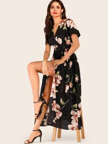 Large Floral Print Tie Side Wrap Dress