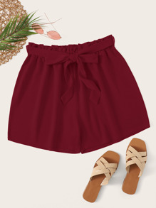 Plus Solid Belted Paperbag Waist Shorts