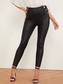 High Waist Double Button Pu Patent Skinny Pants