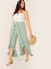 Plus Ruffle Trim Asymmetrical Hem Wide Leg Pants