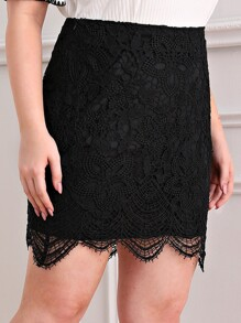 Plus Zipper Side Lace Overlay Skirt