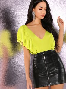 Neon Lime Deep V-neck Ruffle Layered Detail Bodysuit