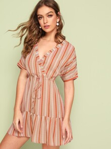 Surplice Neck Drawstring Waist Ruffle Hem Striped Dress
