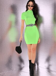 Neon Green Ribbed Bodycon Dress Without Belt
