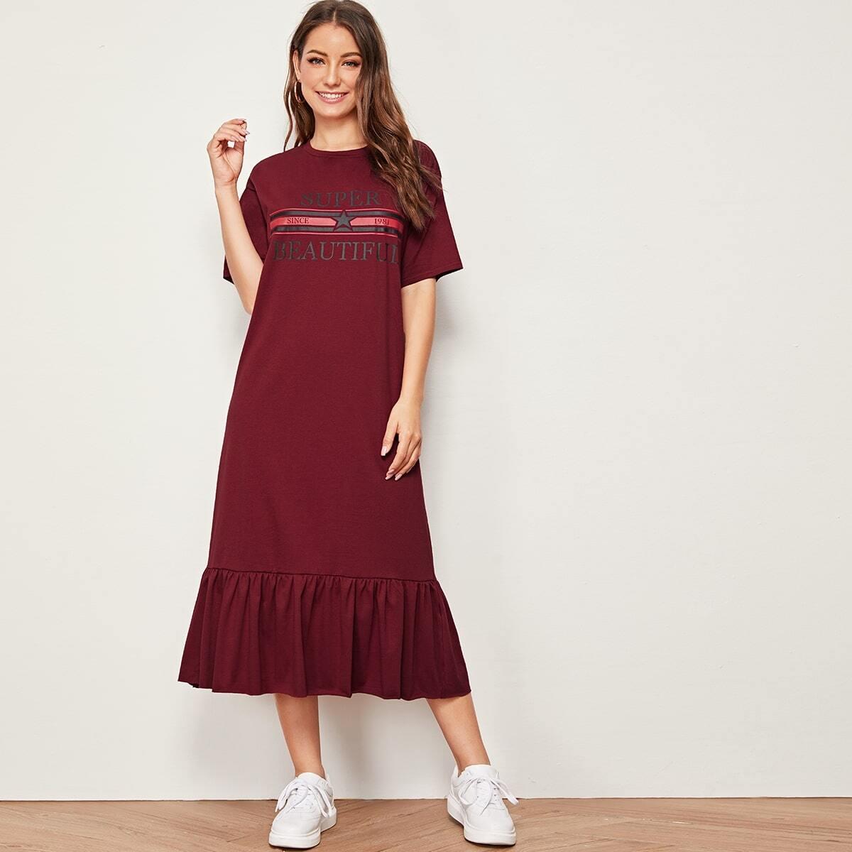 Платье с графическим принтом и оборкой
