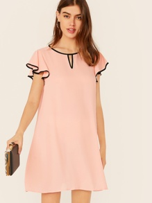 Keyhole Neck Contrast Binding Tunic Dress