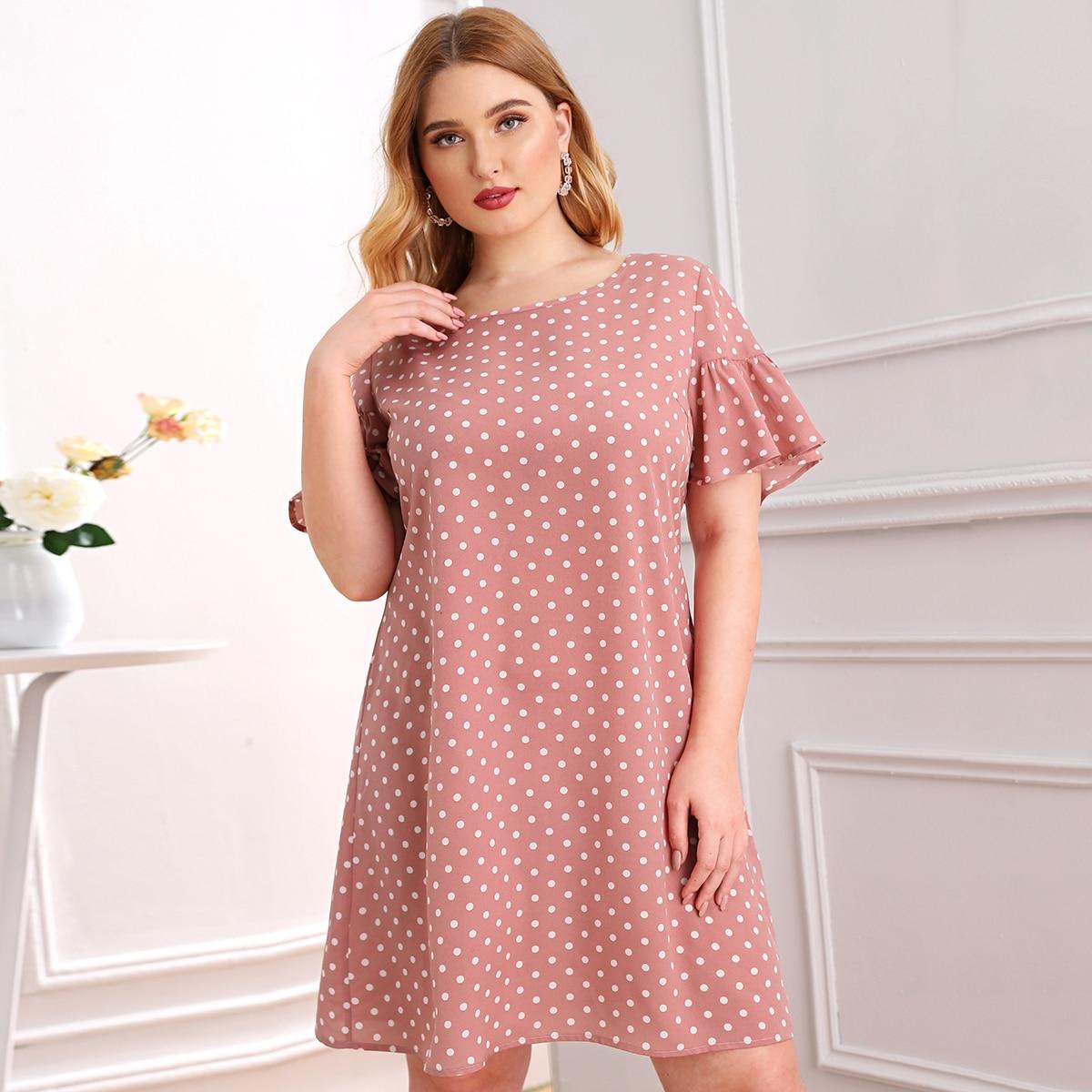 Платье в горошек размера плюс с оборками