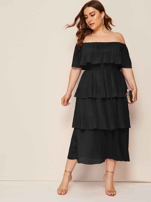 Plus Solid Off Shoulder Pleated Layered Dress