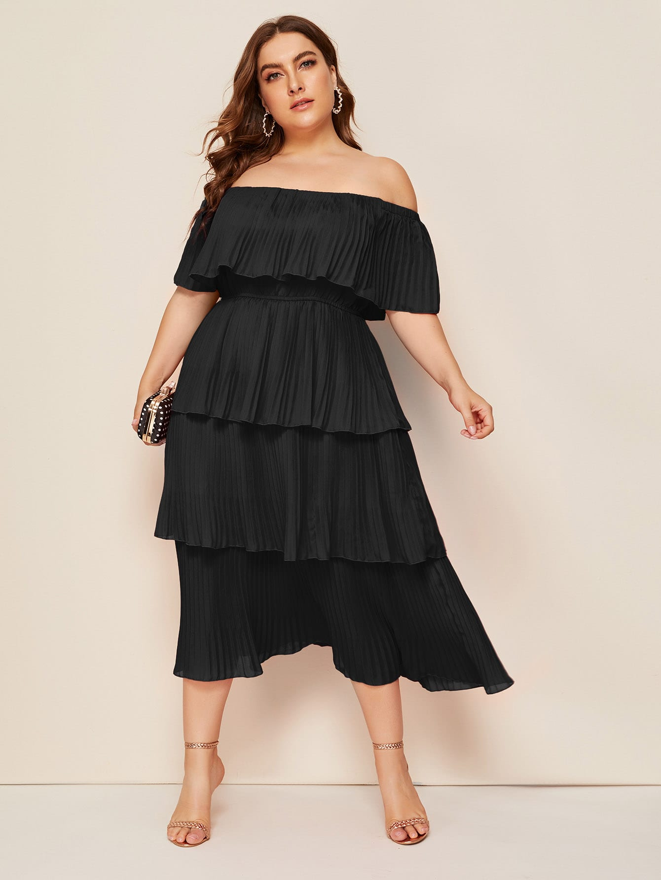 Bardot Pleated Tier Dress