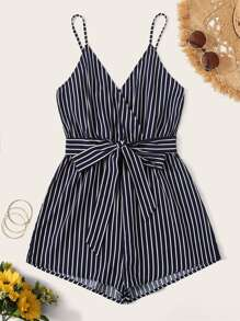 Striped Surplice Neck Belted Cami Romper