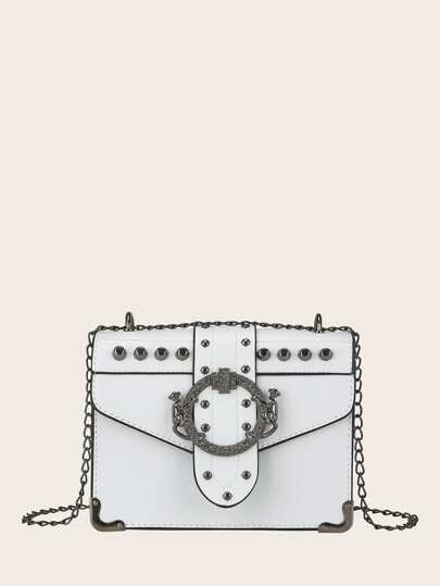 Buckle Decor Flap Chain Bag