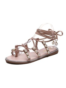 Faux Pearl Decor Toe Ring Sandals