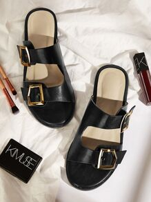 Double Buckle Strap Flat Sliders