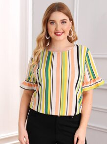 Plus Flounce Sleeve Striped Top