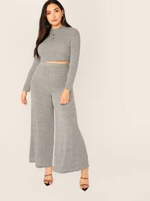 Plus Solid Crop Top & Palazzo Pants Set