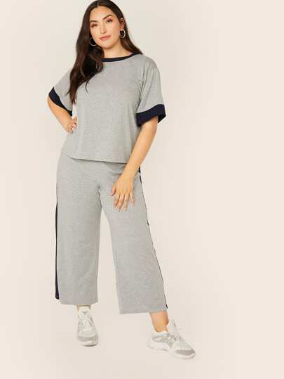 Plus Two Tone Heather Grey Top and Pants Set