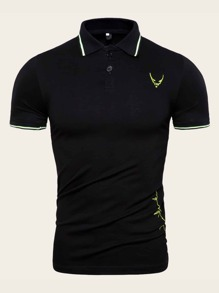 Men Embroidered Half Placket Polo Shirt