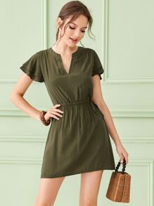 Drawstring Waist Butterfly Sleeve Dress