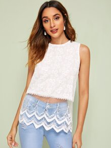 Embroidery Mesh Panel Sleeveless Blouse