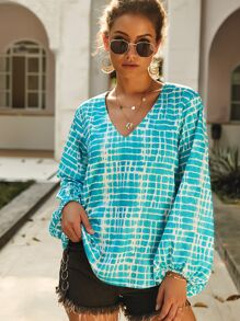 Tie Dye Bishop Sleeve Blouse