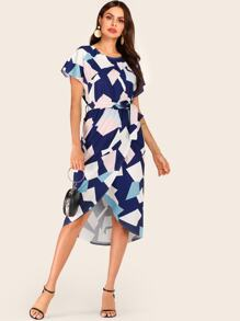 Geo Print Color-block Belted Wrap Dress